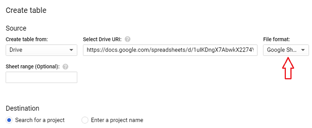 Set file format to Google Sheet