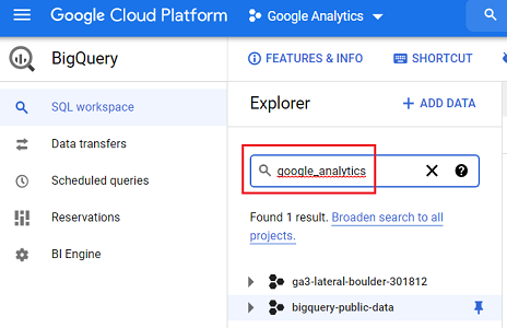 Type google analytics in the search