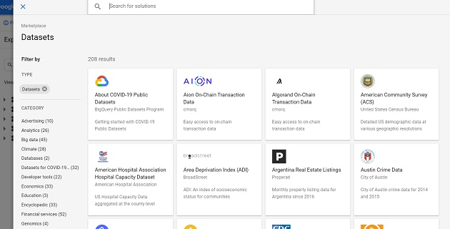 all available public data sets in bigquery