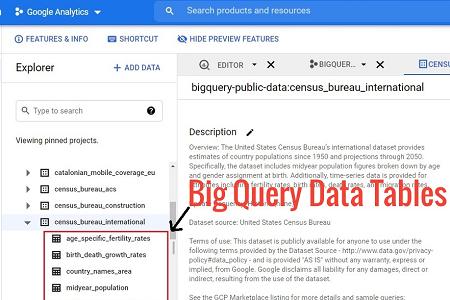 bigquery data tables