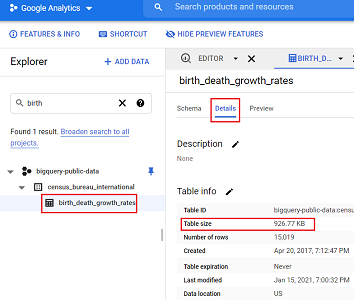 check the size of the table bigquery