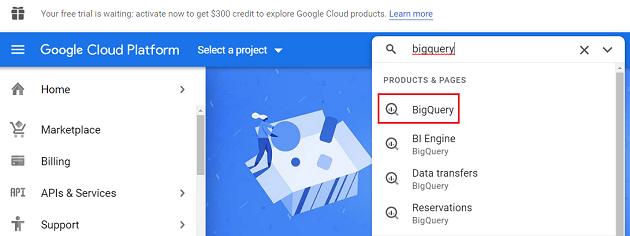 click on bigquery