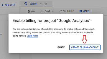 enable billing for bigquery project