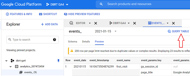 events data table QUERY TABLE bigquery