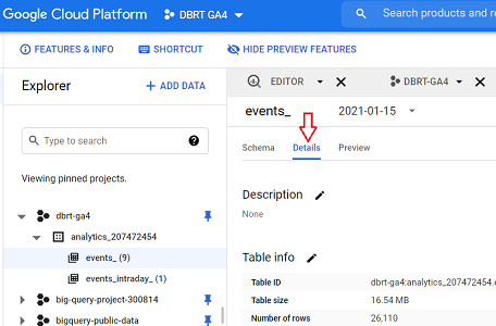 events data table details bigquery