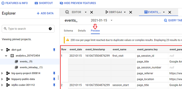 events data table preview bigquery