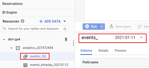 events_ data table BigQuery