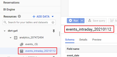 events_intraday_ data table BigQuery
