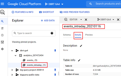events intraday data table details bigquery