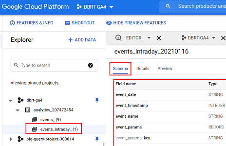events intraday data table schema bigquery