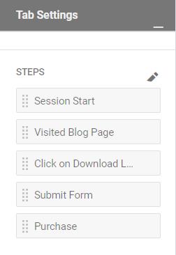 funnel steps in tab settings
