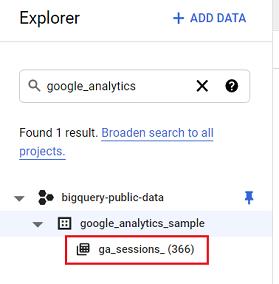 ga sessions 366 data table bigquery