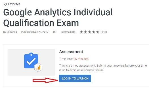 gaiq test login to launch button