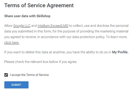 gaiq test terms of service agreement