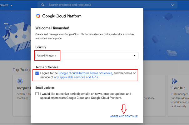 google cloud platform Terms of Service