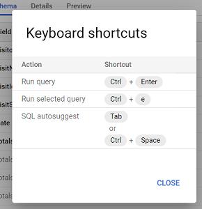 keyboard shortcuts bigquery