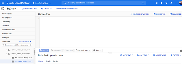 old user interface of BigQuery
