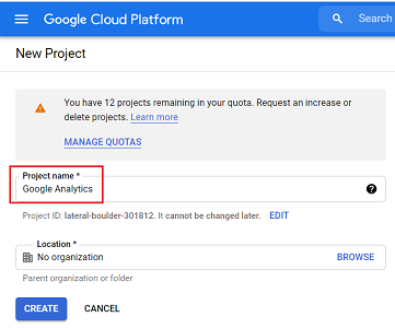 project name bigquery