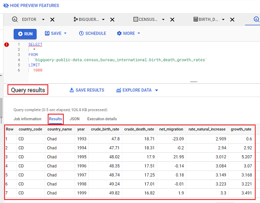 query results bigquery