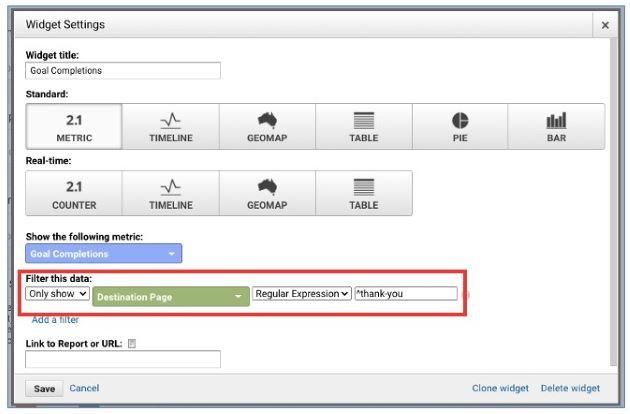 regex guide dashboard widget