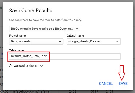save query results bigquery
