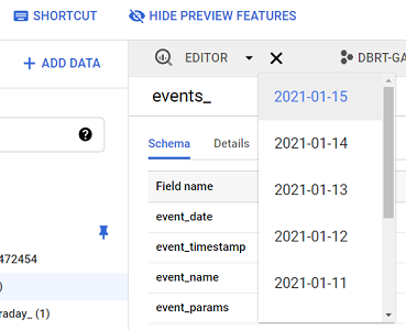 see GA4 events data for a particular date bigquery 2