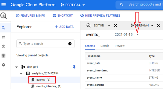 see GA4 events data for a particular date bigquery