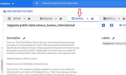 switch to the current data set