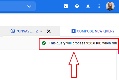 this query will process when run bigquery