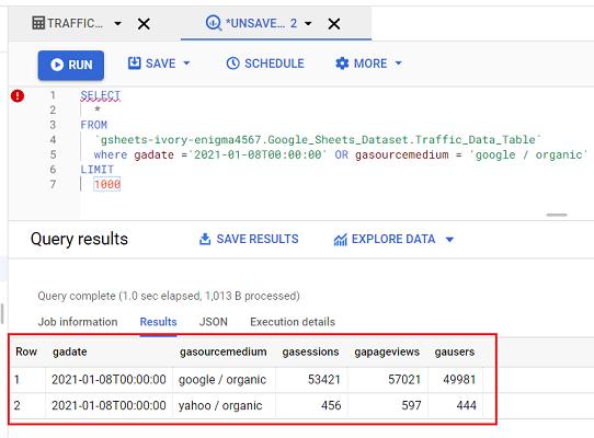 where gadate query results