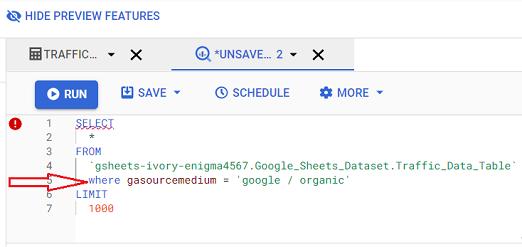 where gasourcemedium google organic