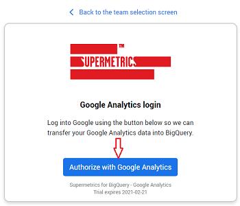 Authorize with Google Analytics
