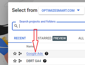 Click on Google Ads project
