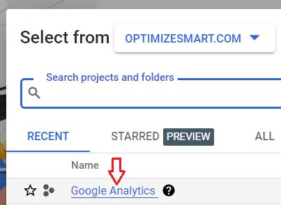 Click on Google Analytics project
