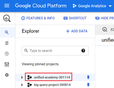 Click on the Google Analytics project ID