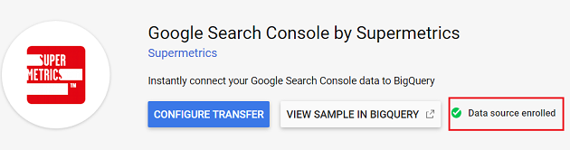 Data Source enrolled Google Search Console by Supermetrics connector