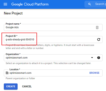 Edit the project ID bigquery
