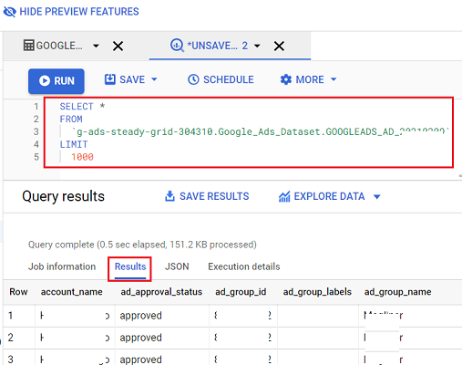 Enter your SQL query and query the Google ads you need