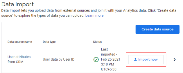 Existing data import