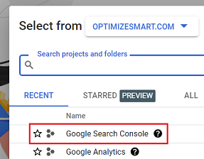 Google Search Console project