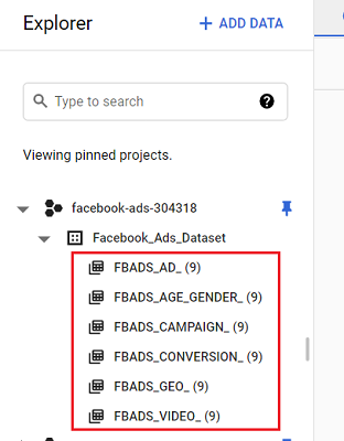 Importing Facebook Ads data into BigQuery