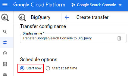 Keep the scheduling option to Start now