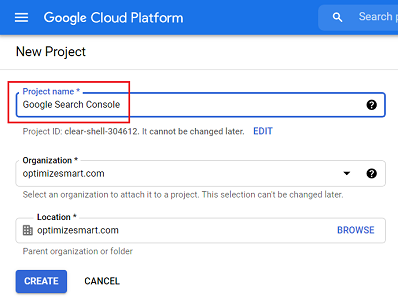 Name your new project google search console