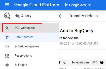 SQL workspace