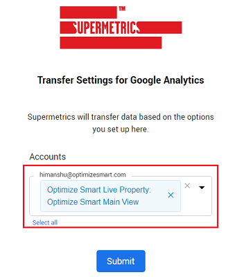 Select the Google Analytics view