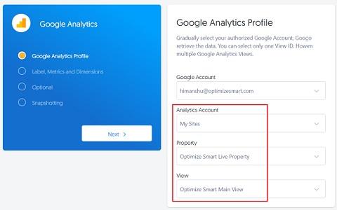Select your Google Analytics account