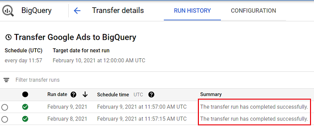 The transfer run has completed successfully