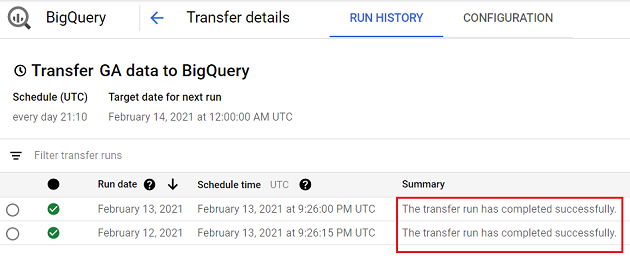 Wait for the data transfer to complete bigquery