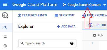 You are now in the Google Search Console project.