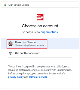 chose an account to continue with supermetrics 2